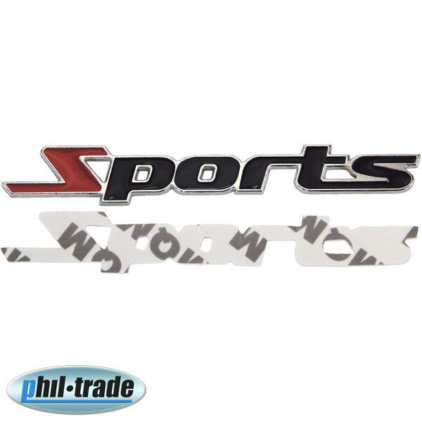 3D Metall Chrom SPORTS Tuning Sport Aufkleber Emblem Logo Schriftzug schwarz rot