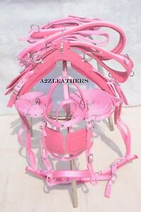 PINK-NYLON-DRIVING-HARNESS-FOR-SINGLE-HORSE-with-diamonte-browband-in-bridle