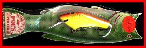 Red Crawdad Fish Lure Vintage 1987 POE/'S SUPER CEDAR 3.5-inch Yellow # 835