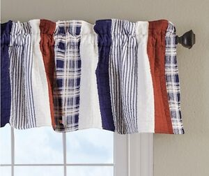 Greenland Home Fashions Nautical Stripes Quilted Valance Red White daeeddcafd.
