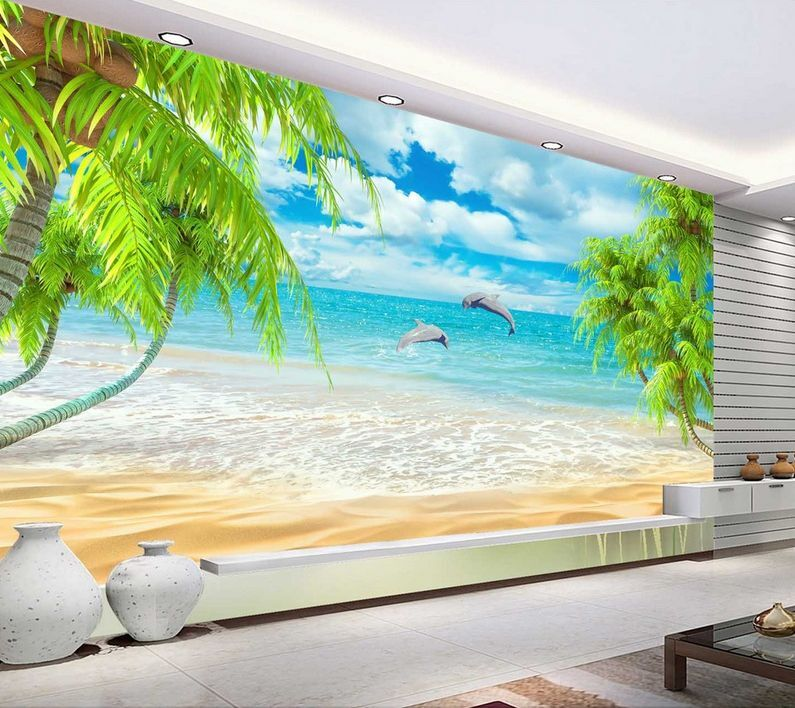 3D Beach Jumping Dolphins 32 Wall Paper Wall Print Decal Wall AJ Wall Paper