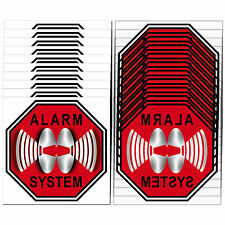 Set Für 10 Fenster Scheiben STOP ALARM SYSTEM 5cm Aufkleber Sticker Innenseite