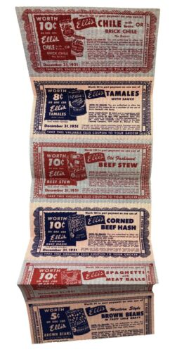 1951 Vintage Direct Mail Coupons Ellis Canning Canned Meat