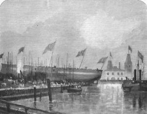 London. Launch Of The Fethi Bulend At Blackwall, Antique Print, 1870 Facile à RéParer