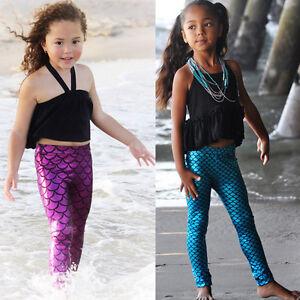 6e4ba5a6e7543 Image is loading Kids-Baby-Girls-Fish-Scale-Mermaid-Leggings-Stretchy-