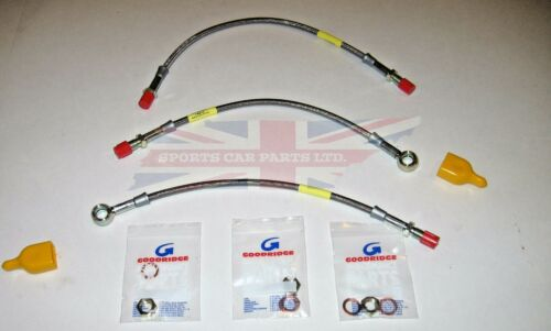 New Stainless Front /& Rear Brake Hoses MG Midget Sprite 1962-1979 w// Disc Brakes