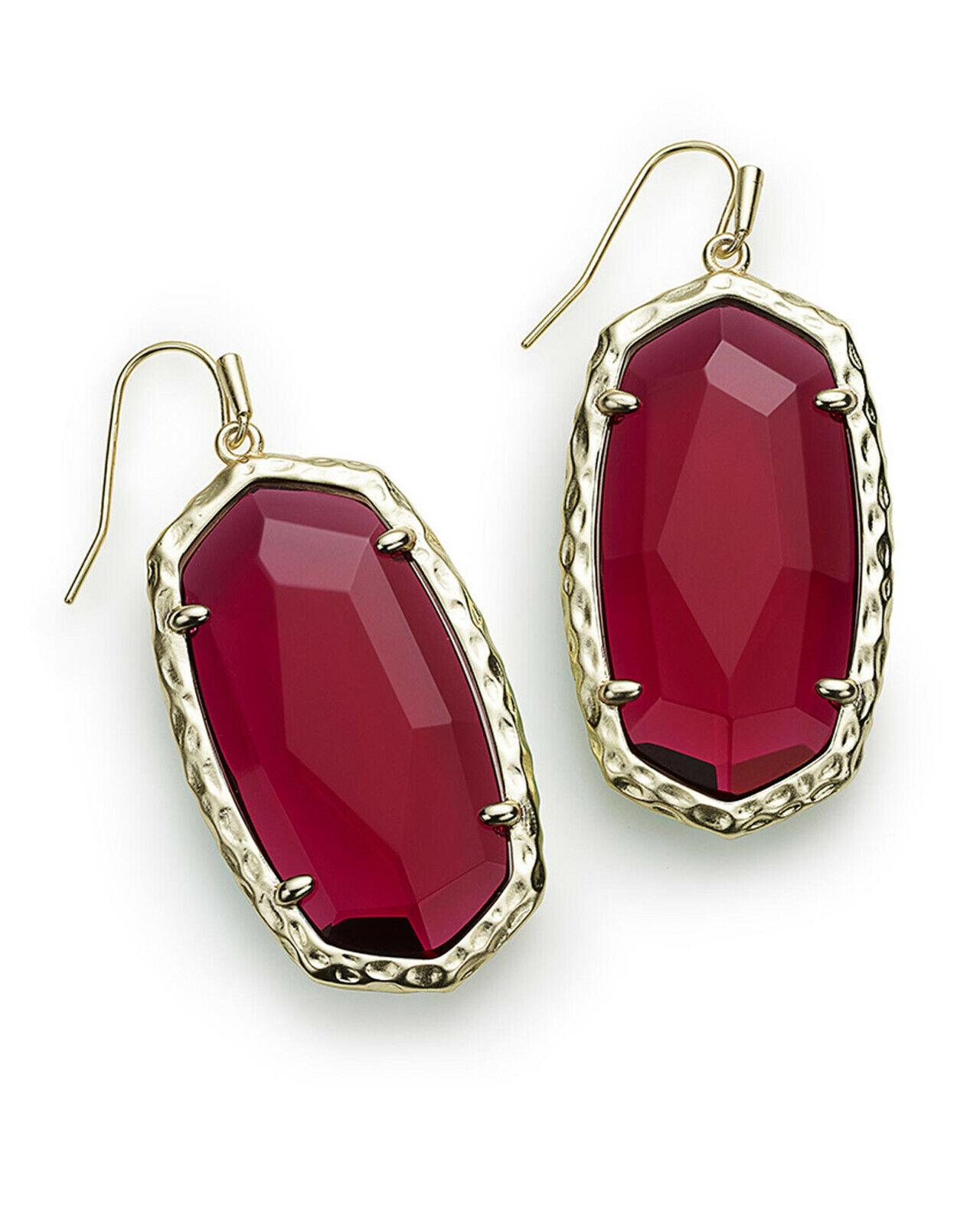 Kendra Scott Red Berry Glass Ella gold Drop Earrings