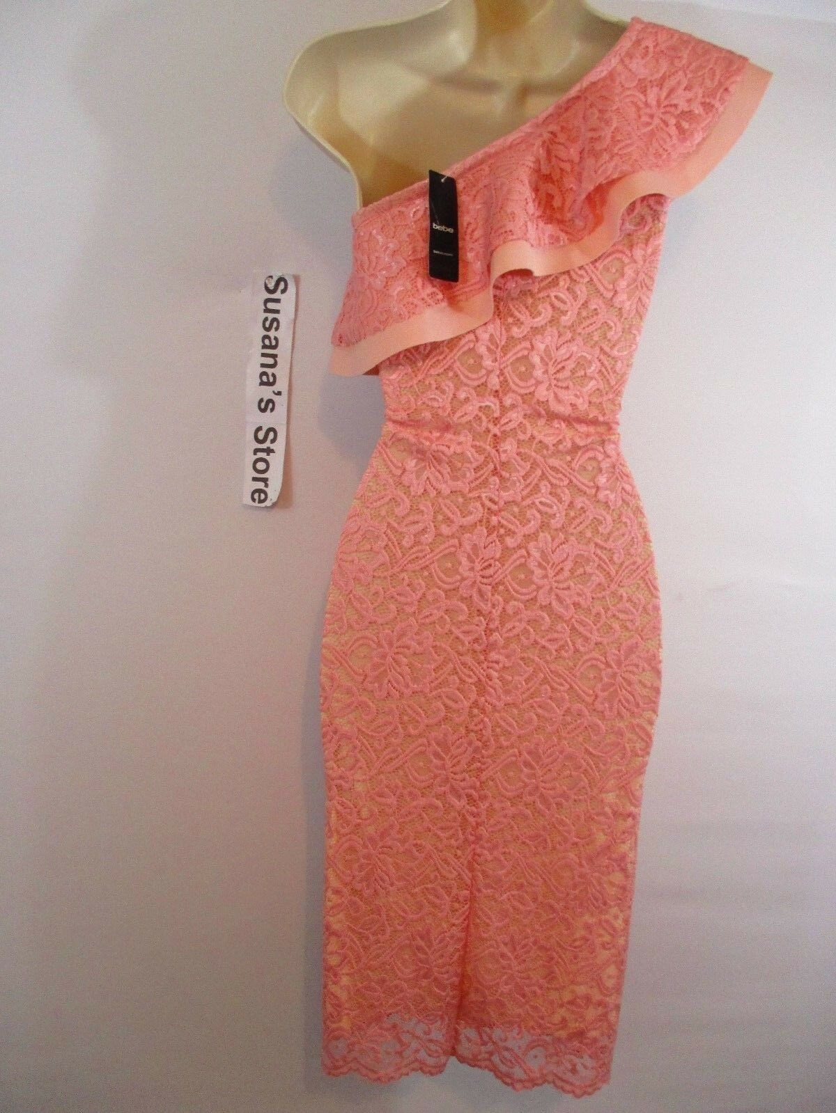 NWT bebe Lace Lace Lace One Shoulder Dress SIZE M Fancy-event, elegant and sexy  113.00 538936