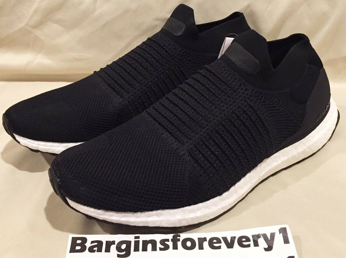 New Men's Adidas UltraBOOST Laceless - S80770 - Size 7.5 - Core Black/White