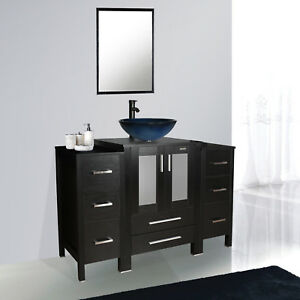 Details About 48 Black Bathroom Vanity Vessel Sink Faucet Mirror Table Small Cabinet Combo
