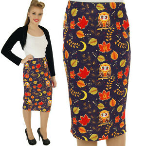 SCUBA-WIGGLE-PENCIL-SKIRT-50-039-S-VINTAGE-OWL-ROCKABILLY-ALTERNATIVE-size-8-20