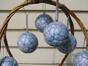 6-Handmade-Patchwork-Christmas-Baubles-featuring-blue-and-pink-Mermaid-Material