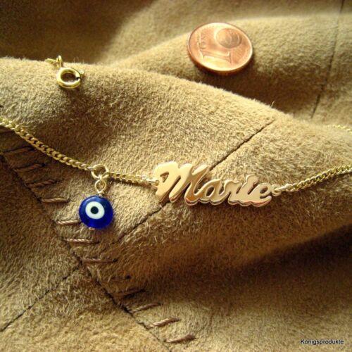 1 Kinderarmband Namensarmband mit Glücksauge dunkelbau Nazar 333er Gelbgold