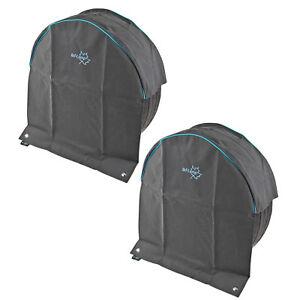 2x-Wohnwagen-Radabdeckung-034-Luxus-034-grau-UV-Schutz-Polyestergewebe-mit-Anker-Osen