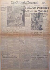1956 Vintage Newspaper $95,000 Paintings Stolen Monaco Princess Grace-Cat Story