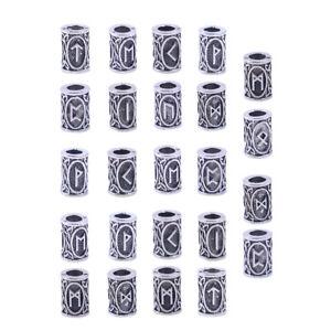 24x Silber Runen Rasta Reggae Dreadlock Dreadperlen Bead Haarperlen Haarschmuck