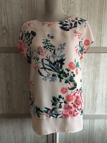 Nouveau Femme f/&f rose clair jolie fleur Imprimer en jersey à l/'arrière femme taille 18