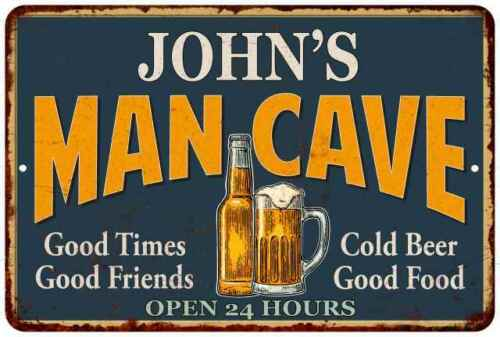JOHN/'S Man Cave Personalized Metal Sign Green Gift 112180012005