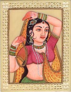 Indian-Miniature-Painting-Rajasthani-Princess-Handmade-Ethnic-Decor-Portrait-Art