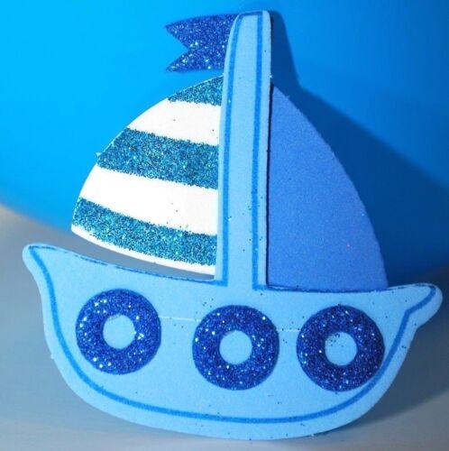 10 FAVORS BABY SHOWER FOAM RECUERDOS NAUTICAL BIRTHDAY PARTY BLUE BOY SAIL BOAT
