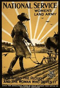 WA26-Vintage-WWI-Women-039-s-Land-Army-National-Service-War-Poster-WW1-A1-A2-A3