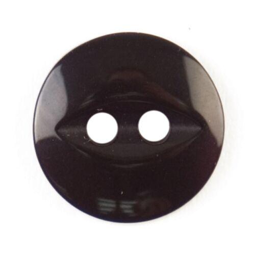 11mm//18L Redondo Ojo De Pez botón 2 Agujero-Negro