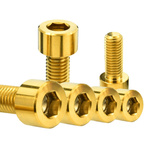 6Pieces M10X25 Gold Titanium Ti Gr5 Allen Hex Hexagon Socket Cap Head Bolt Screw