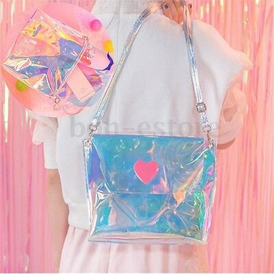 Women Holographic Bag Transparent Tote Handbag PVC Laser Purse Shoulder Bags New