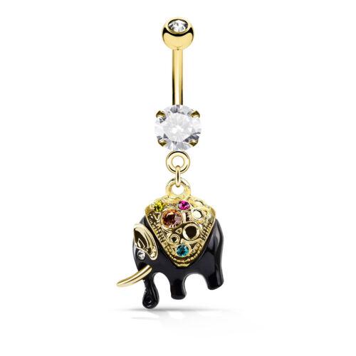Multi Cristal Oro y Negro Elefante cuelgan 316L Vientre de Acero Quirúrgico Barra
