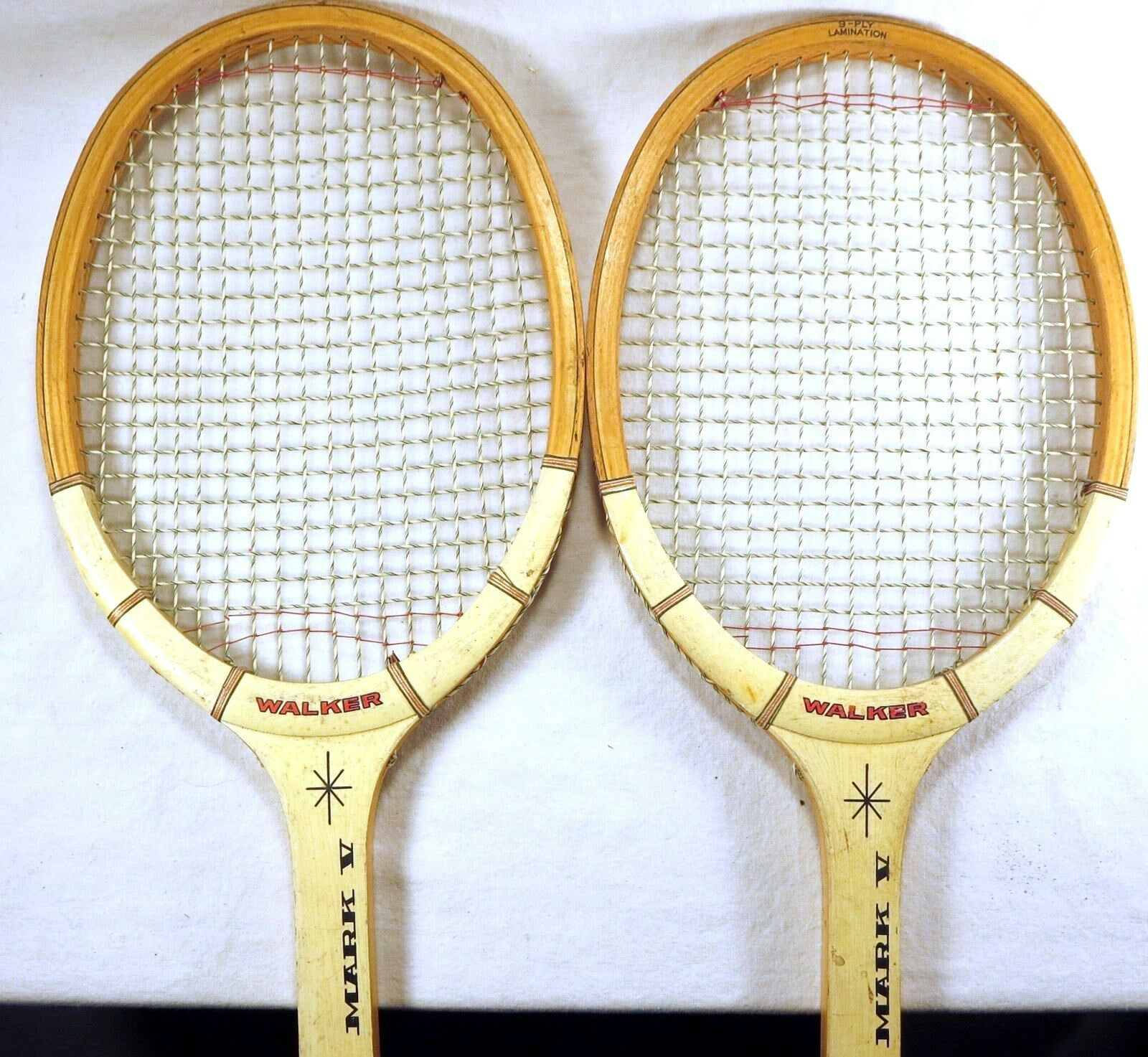 RARE TWO (2) JOHNNY WALKER Wooden Tennis Racquets MARK V 4 1 2 Grip JAPAN