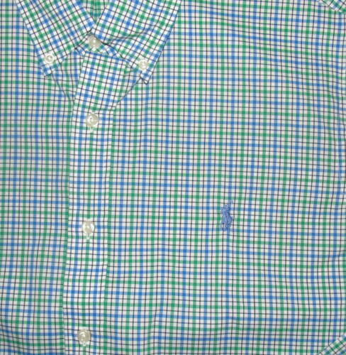 Ralph Lauren Mens LS Green Blue White Plaid Classic Fit Shirt XL NWT
