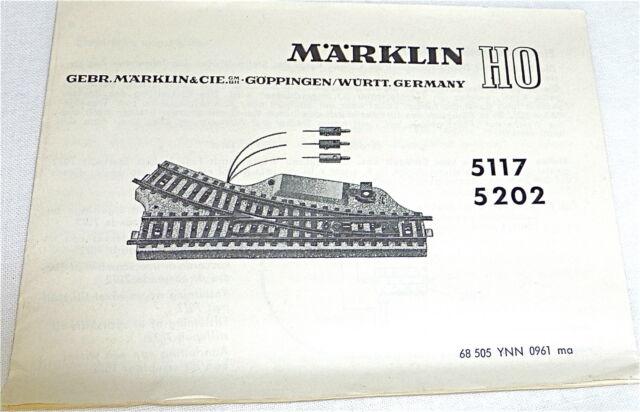 Märklin 5117 5202 Manual 68 505 Ynn 0961 Ma