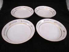 "4 Grano Empress China Japan Coupe Soup Bowls 7-5/8"" Wheat Design Gold Trim 1813"