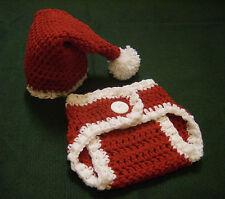 Newborn Baby Santa Hat and Diaper Cover Set--Hand Crochet--Photo Prop
