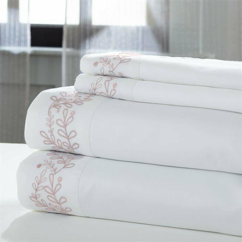 4-Piece sheet set Leaf White with pink embroidered hem Queen