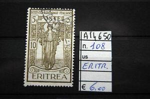 Discipliné Francobolli Italia Colonie Eritrea Usati N°108 (a14650)