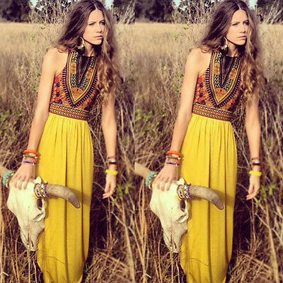 New Womens Sexy Boho Long Maxi Dress Ladies Vintage Summer Beach Party Sundress