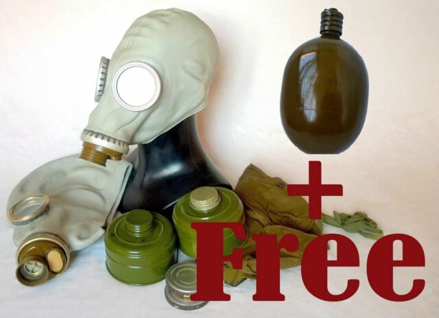 Soviet russian military Gas mask GP-5. Grey rubber two full sets. Nos, Lot of 2