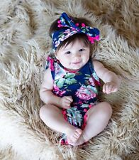 New Baby Girl Summer Floral Outfit Set Bodysuit Vest Playsuit + Headband 12-18 M