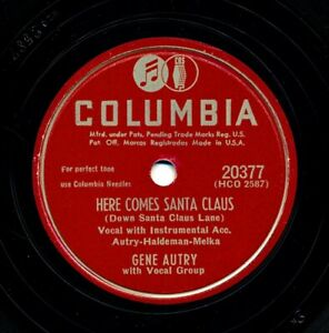 GENE-AUTRY-on-1948-Columbia-20377-Here-Comes-Santa-Claus-Old-Fashioned-Tree
