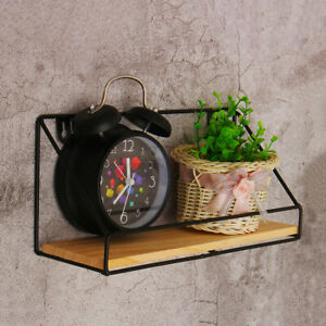 Wooden-amp-Iron-Mounted-Wall-Shelf-Storage-Rack-Organizer-Home-Office-Decoration