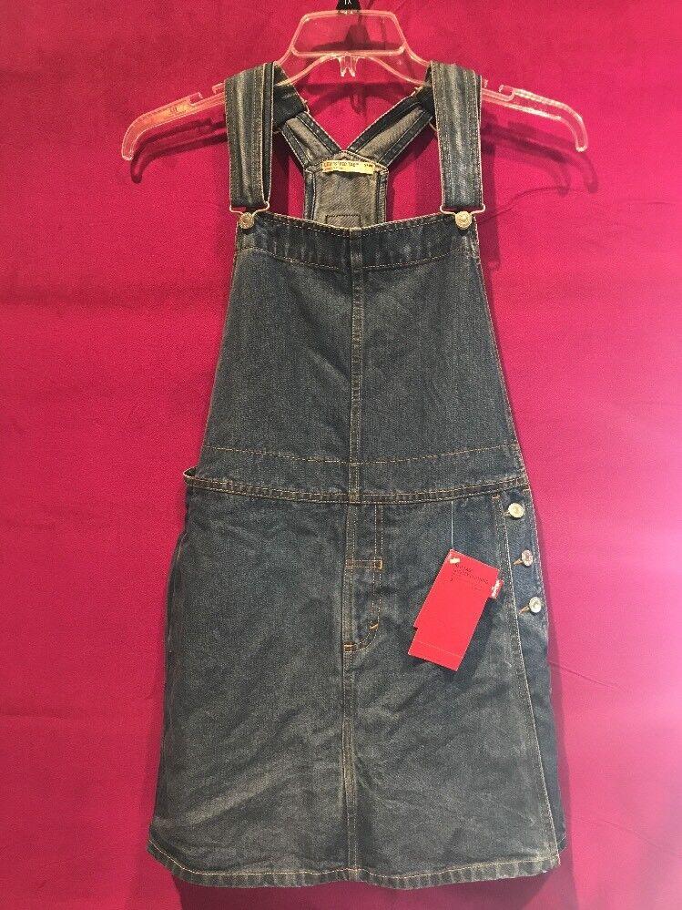 Womens Size Medium Denim Bib Skort, Skirt, Shorts, Vintage, 1970 Red Tab NWT