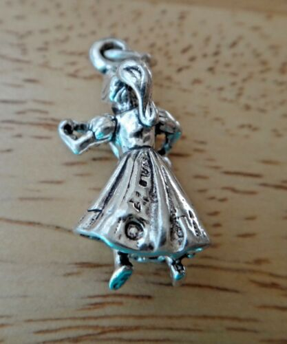 9th Day Lady Ladies Dancing 12 Days of Christmas 24x13mm Sterling Silver Charm