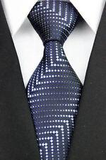 GIFTS FOR MEN Classic Mens Linear Stripe Patterned Silk Necktie Tie Navy Blue