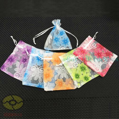 "12//25//50//100pcs flower design Organza Pouch Wedding Favor Bag 4.7/""x3.5/"" 7x4.7/"""
