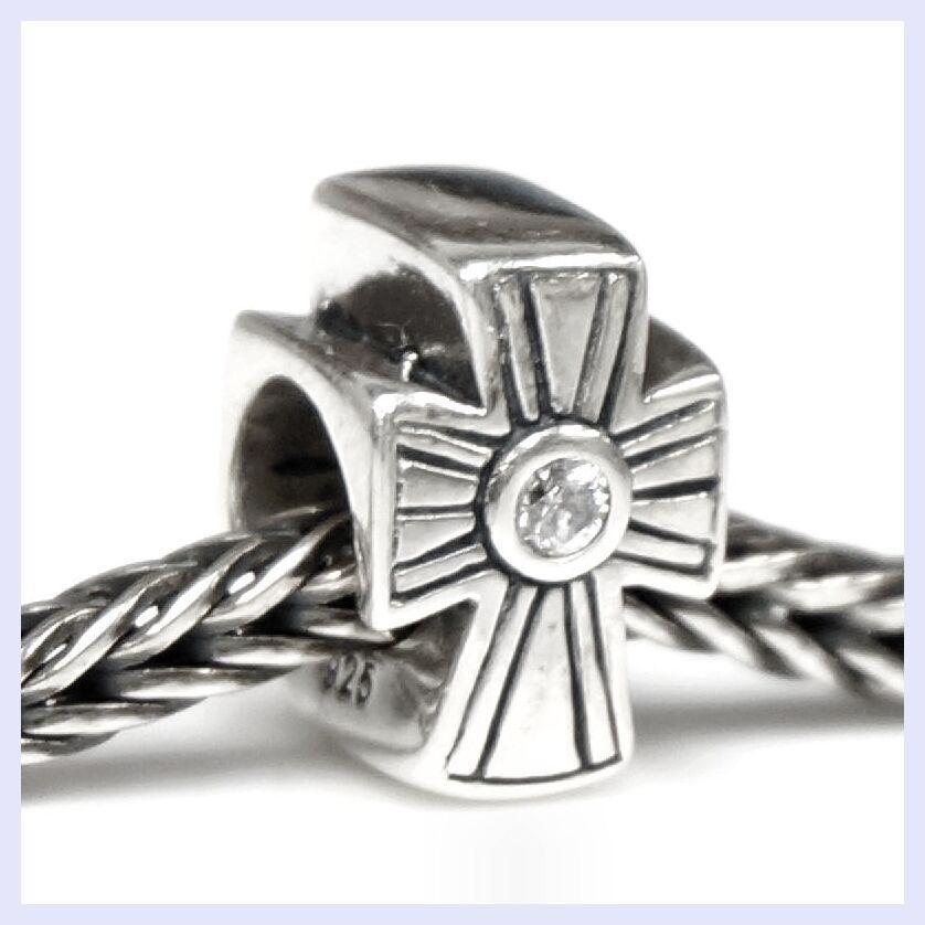 .925 Sterling Silver Holy Cross Clear CZ Crystal Bead f/ European Charm Bracelet