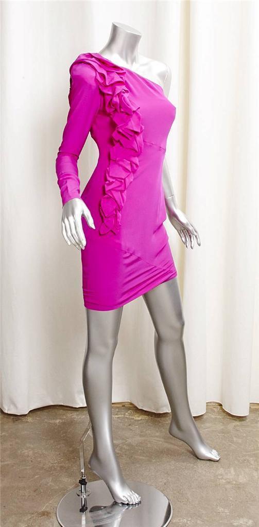 ROBERT RODRIGUEZ Womens Womens Womens Hot Pink Silk One-Shoulder Shift Mini Dress 0 NEW 547610