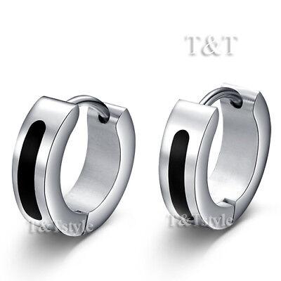 T/&T Stainless Steel Hoop Earrings Silver//Black EK42