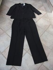Damen-Anzug-Hosenanzug-Anzug-Kombination-Hose-Sakko-Blazer-schwarz-Gr-44