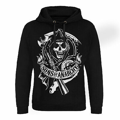 Officially Licensed Sons of Anarchy SOA Grey Distressed Hoodie S-XXL Sizes